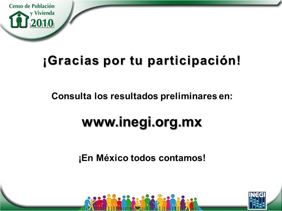 ¡Gracias por tu participación! www.inegi.org.mx ¡Gracias por tu participación! Consulta los resultados preliminares en: www.inegi.org.mx ¡En México to