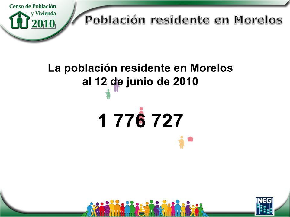 La población residente en Morelos al 12 de junio de 2010 1 776 727