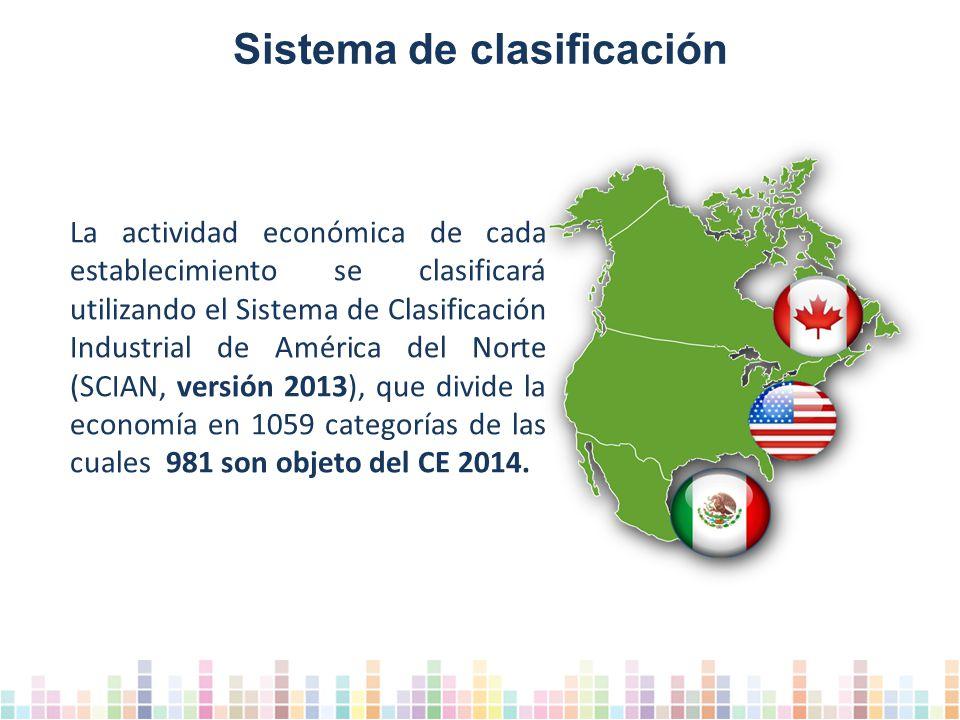 La actividad económica de cada establecimiento se clasificará utilizando el Sistema de Clasificación Industrial de América del Norte (SCIAN, versión 2013), que divide la economía en 1059 categorías de las cuales 981 son objeto del CE 2014.