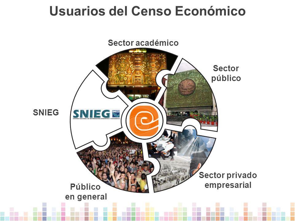 Usuarios del Censo Económico Sector privado empresarial Público en general SNIEG Sector público Sector académico