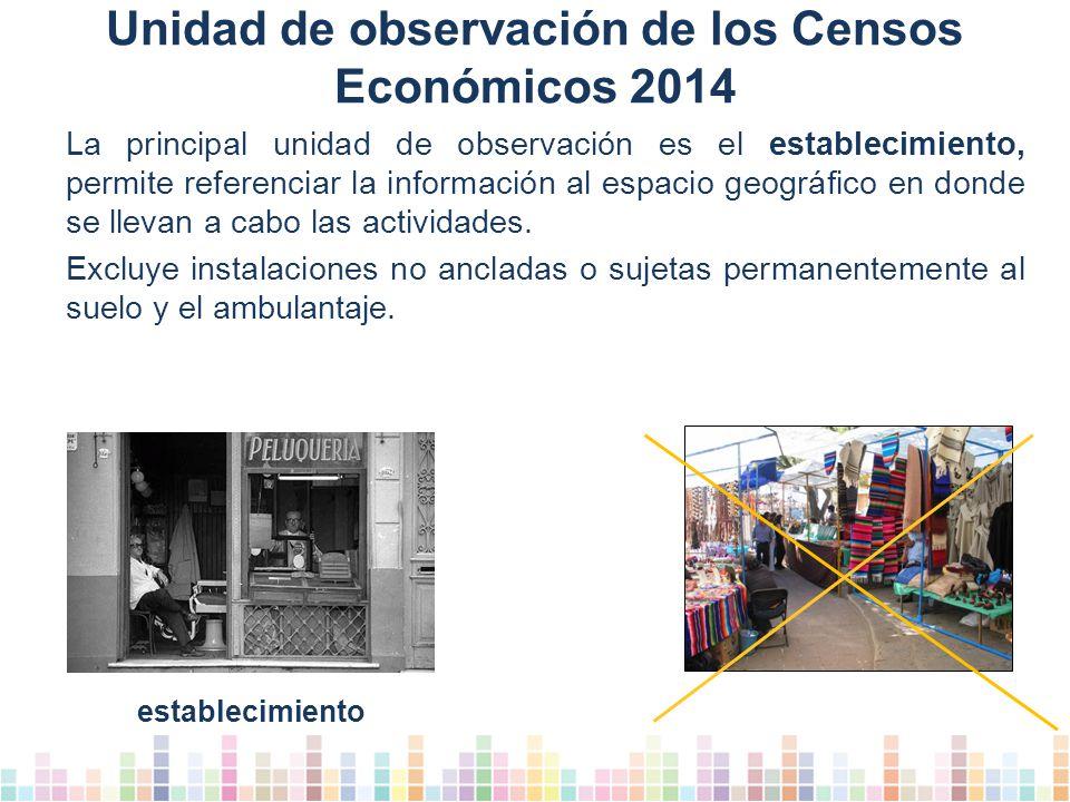 Unidad de observación de los Censos Económicos 2014 La principal unidad de observación es el establecimiento, permite referenciar la información al espacio geográfico en donde se llevan a cabo las actividades.