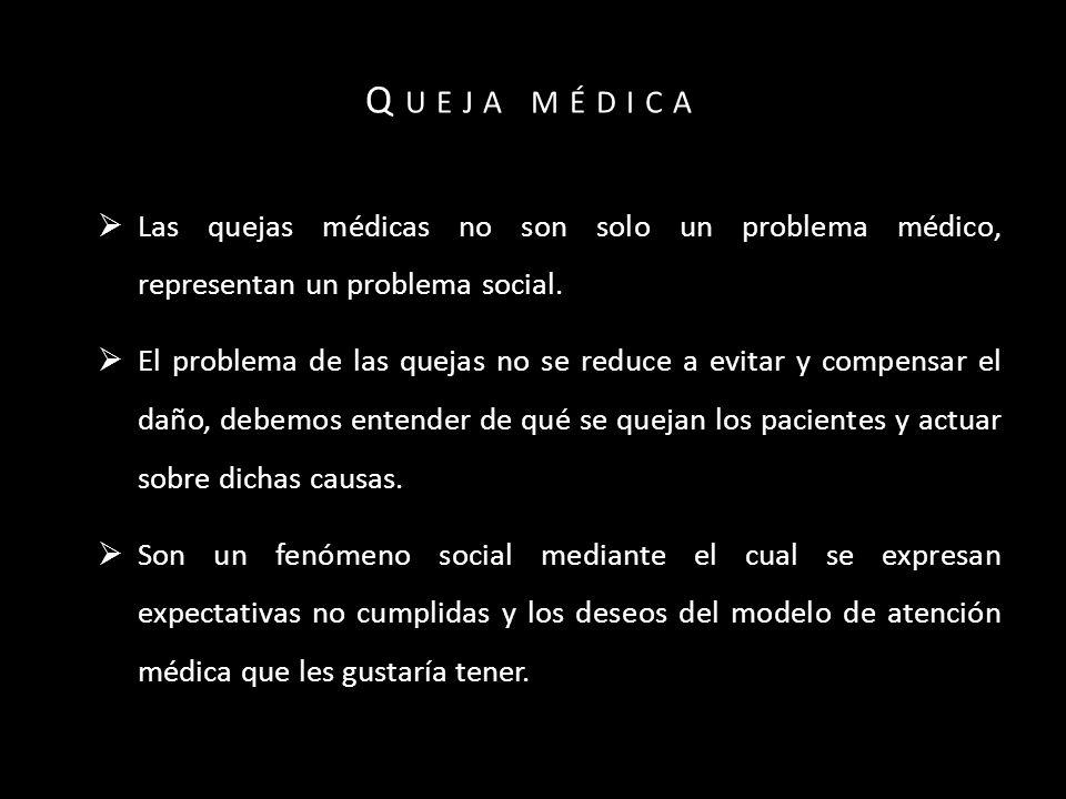 Q UEJA MÉDICA Las quejas médicas no son solo un problema médico, representan un problema social.