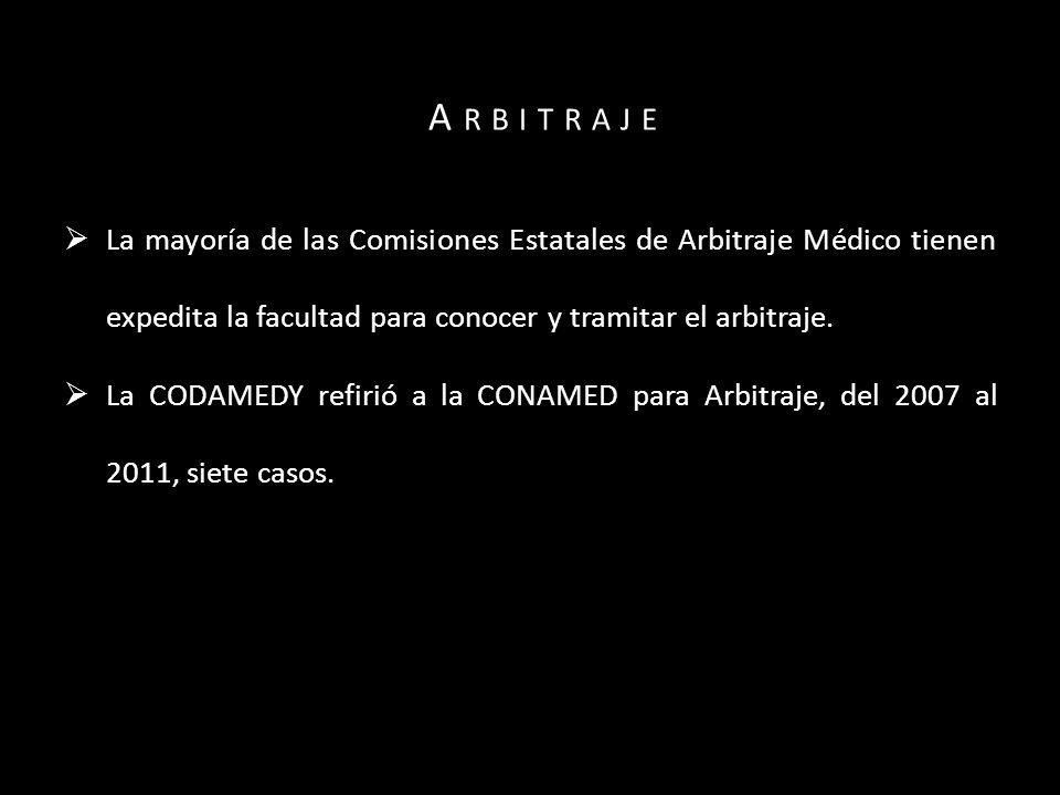 La mayoría de las Comisiones Estatales de Arbitraje Médico tienen expedita la facultad para conocer y tramitar el arbitraje.