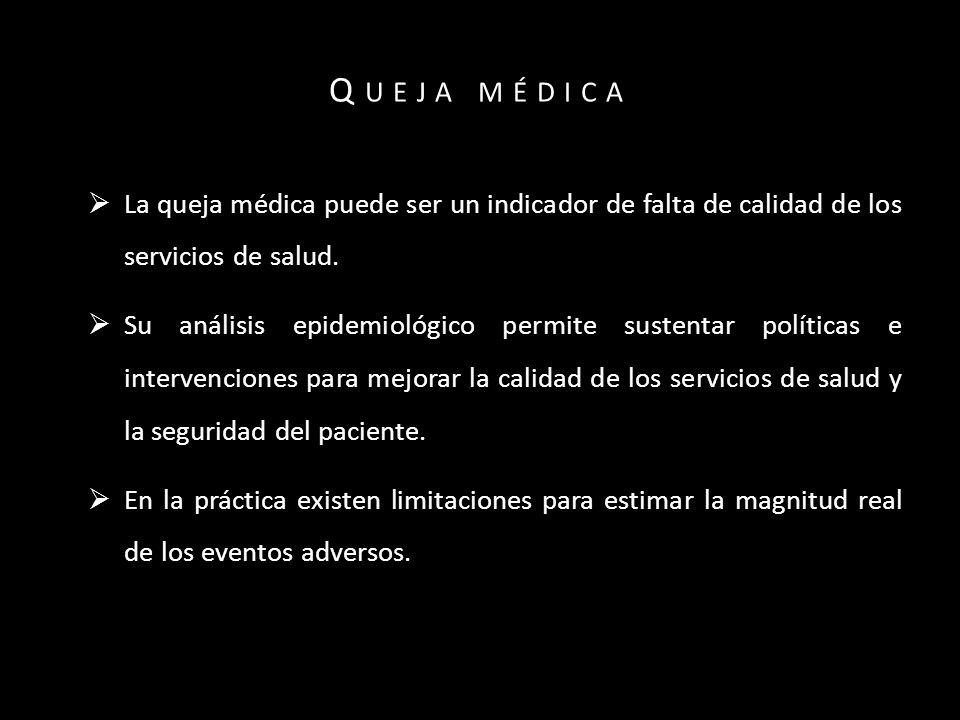 La queja médica puede ser un indicador de falta de calidad de los servicios de salud.