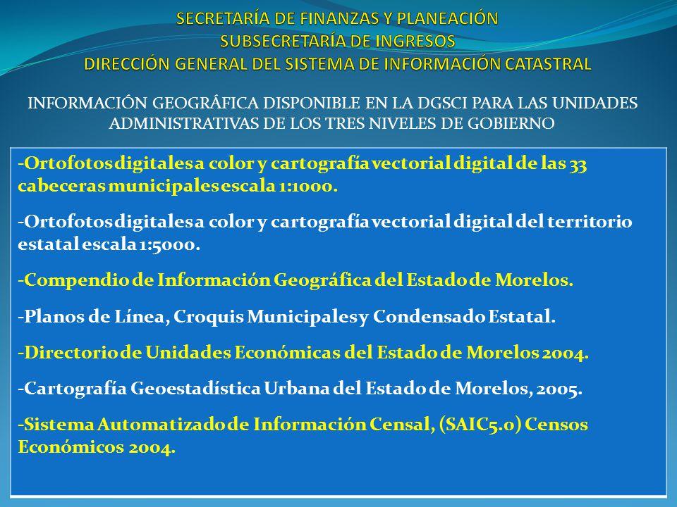 INFORMACIÓN GEOGRÁFICA DISPONIBLE EN LA DGSCI PARA LAS UNIDADES ADMINISTRATIVAS DE LOS TRES NIVELES DE GOBIERNO -Ortofotos digitales a color y cartografía vectorial digital de las 33 cabeceras municipales escala 1:1000.