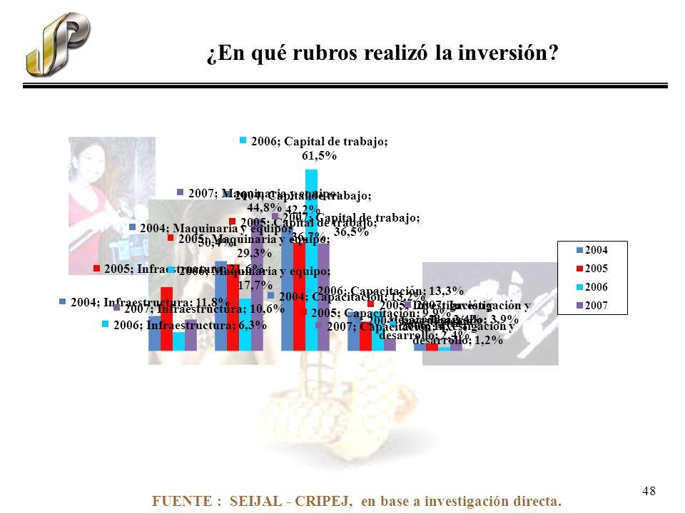 FUENTE : SEIJAL - CRIPEJ, en base a investigación directa. ¿En qué rubros realizó la inversión? 48