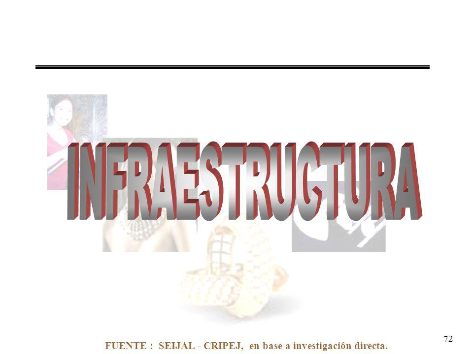 FUENTE : SEIJAL - CRIPEJ, en base a investigación directa. 72