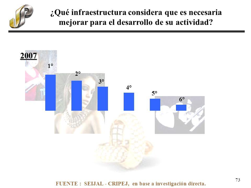 FUENTE : SEIJAL - CRIPEJ, en base a investigación directa. ¿Qué infraestructura considera que es necesaria mejorar para el desarrollo de su actividad?