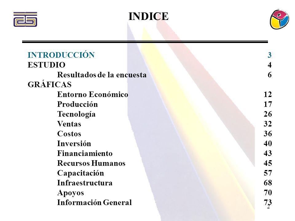 2 INDICE INTRODUCCIÓN 3 ESTUDIO 4 Resultados de la encuesta 6 GRÁFICAS Entorno Económico12 Producción17 Tecnología26 Ventas32 Costos36 Inversión40 Fin