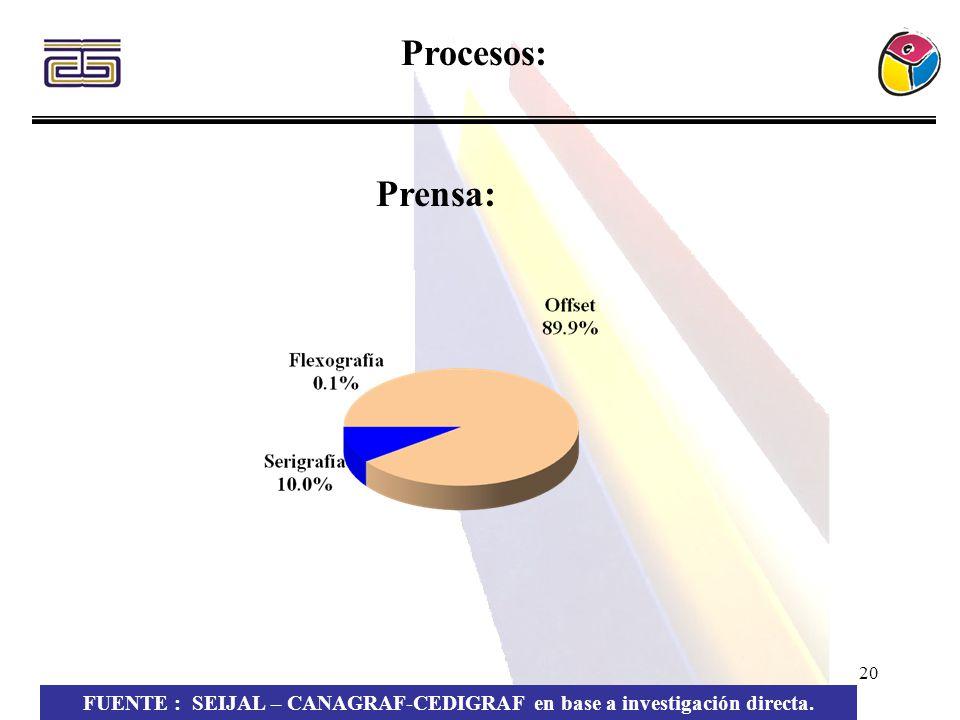 20 Procesos: FUENTE : SEIJAL – CANAGRAF-CEDIGRAF en base a investigación directa. Prensa: