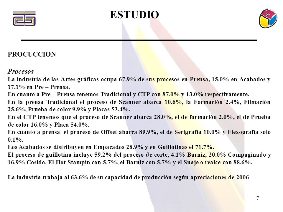 7 PROCUCCIÓN Procesos La industria de las Artes gráficas ocupa 67.9% de sus procesos en Prensa, 15.0% en Acabados y 17.1% en Pre – Prensa. En cuanto a