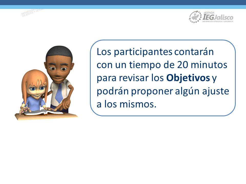 Los participantes contarán con un tiempo de 20 minutos para revisar los Objetivos y podrán proponer algún ajuste a los mismos.