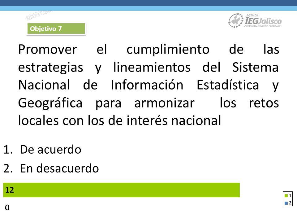 Promover el cumplimiento de las estrategias y lineamientos del Sistema Nacional de Información Estadística y Geográfica para armonizar los retos locales con los de interés nacional 1.De acuerdo 2.En desacuerdo Objetivo 7