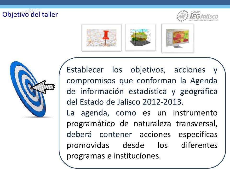 Establecer los objetivos, acciones y compromisos que conforman la Agenda de información estadística y geográfica del Estado de Jalisco 2012-2013.