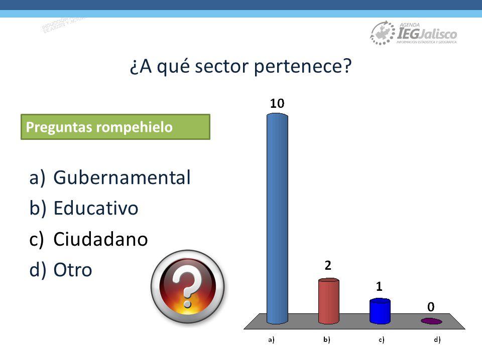¿A qué sector pertenece? a)Gubernamental b)Educativo c)Ciudadano d)Otro Preguntas rompehielo