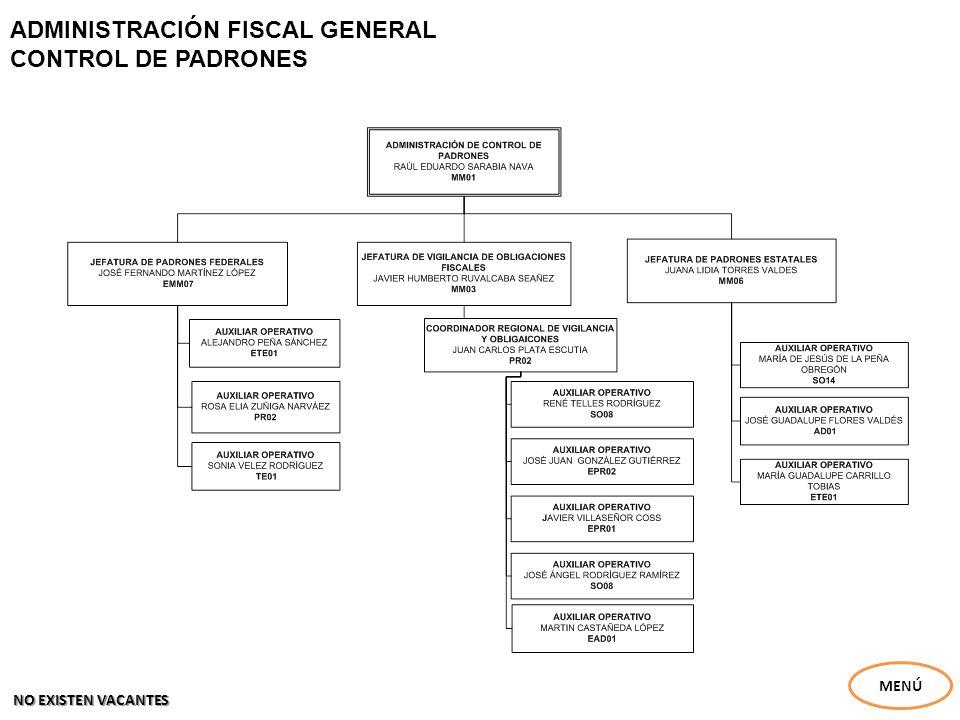 ADMINISTRACIÓN FISCAL GENERAL EJECUCIÓN FISCAL NAVA MENÚ NO EXISTEN VACANTES