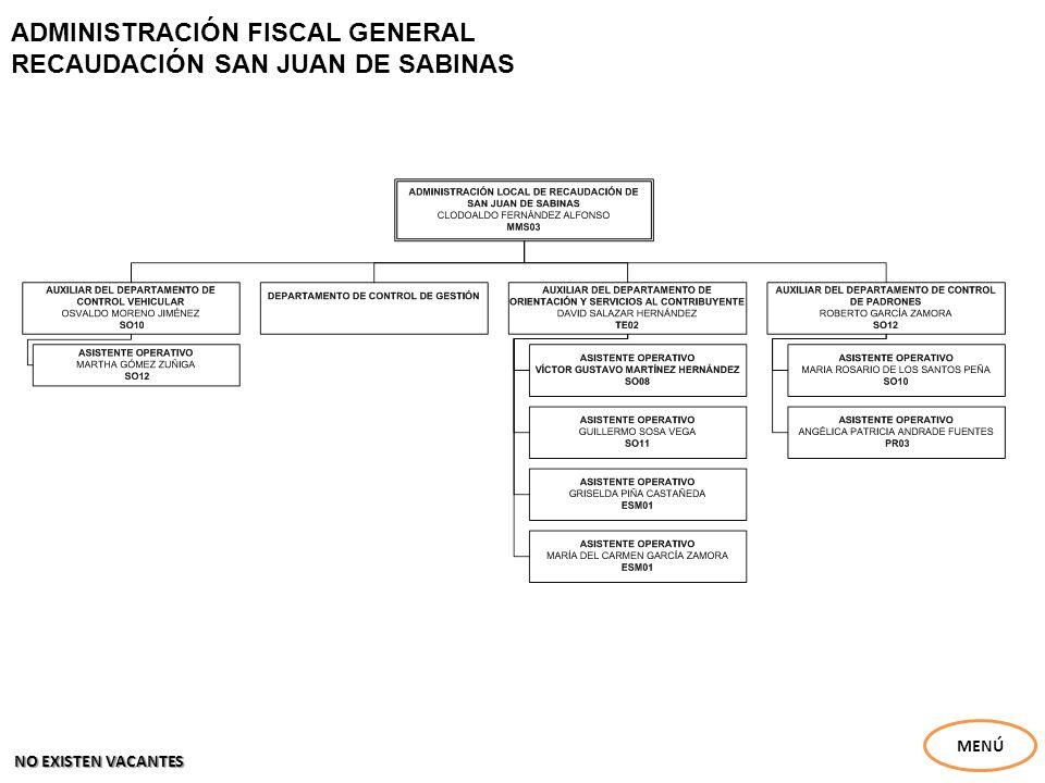 ADMINISTRACIÓN FISCAL GENERAL RECAUDACIÓN SAN JUAN DE SABINAS MENÚ NO EXISTEN VACANTES