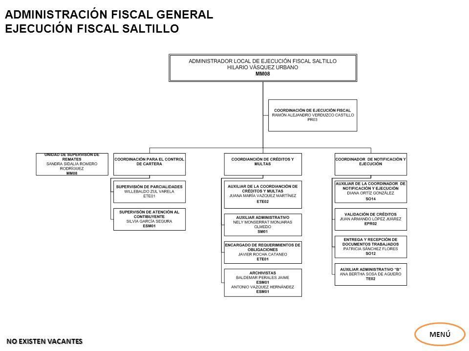 ADMINISTRACIÓN FISCAL GENERAL EJECUCIÓN FISCAL SALTILLO MENÚ NO EXISTEN VACANTES