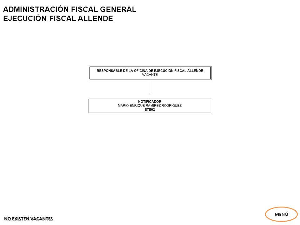ADMINISTRACIÓN FISCAL GENERAL EJECUCIÓN FISCAL ALLENDE MENÚ NO EXISTEN VACANTES