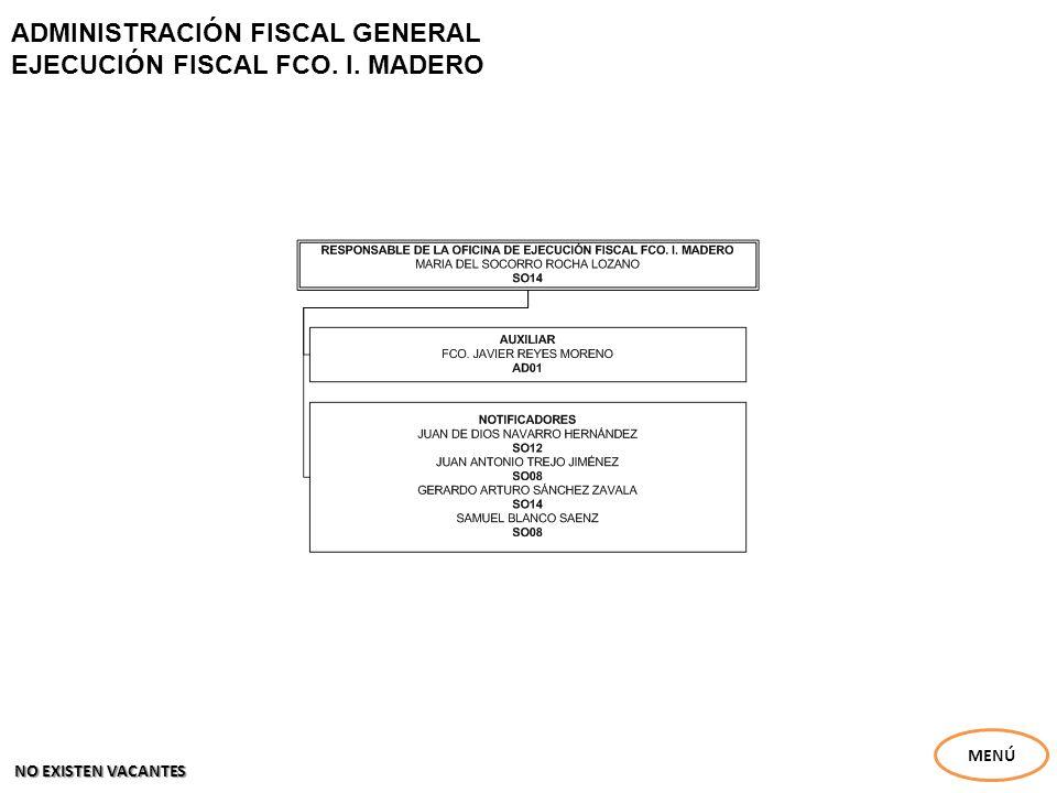 ADMINISTRACIÓN FISCAL GENERAL EJECUCIÓN FISCAL FCO. I. MADERO MENÚ NO EXISTEN VACANTES