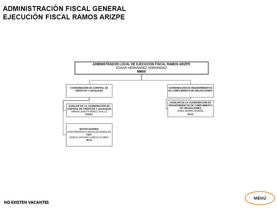 ADMINISTRACIÓN FISCAL GENERAL EJECUCIÓN FISCAL RAMOS ARIZPE MENÚ NO EXISTEN VACANTES