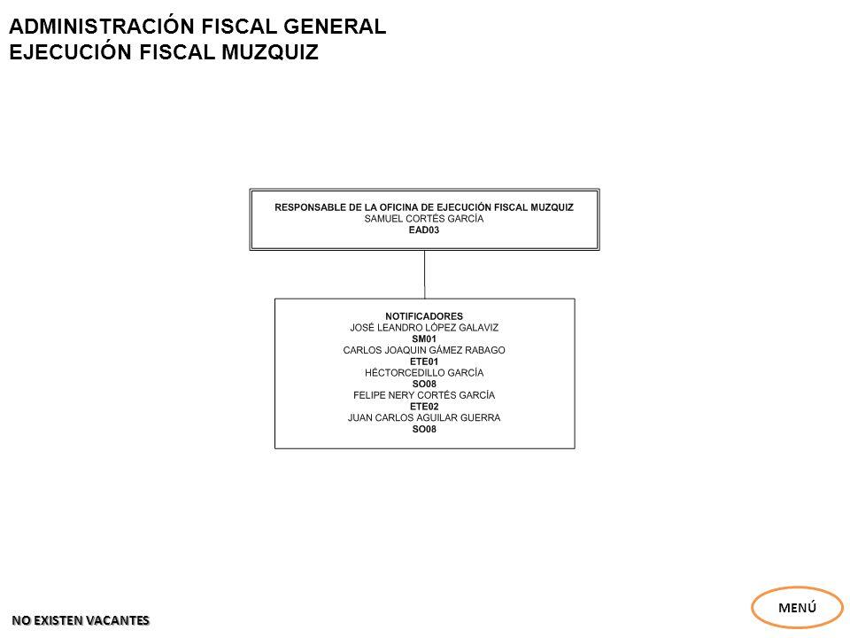 ADMINISTRACIÓN FISCAL GENERAL EJECUCIÓN FISCAL MUZQUIZ MENÚ NO EXISTEN VACANTES