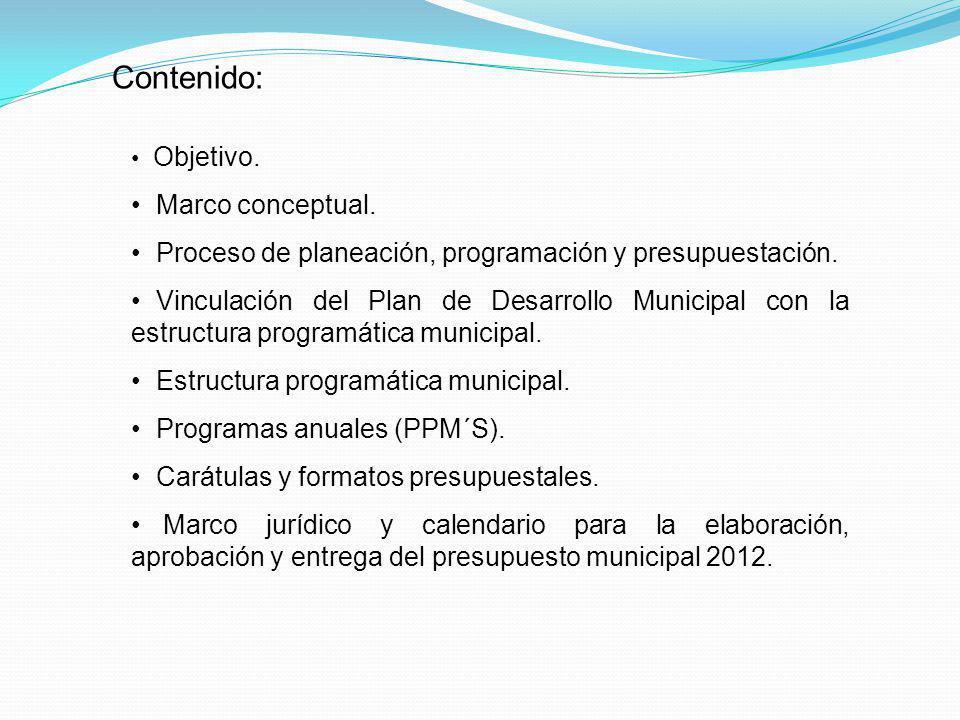 Contenido: Objetivo. Marco conceptual. Proceso de planeación, programación y presupuestación. Vinculación del Plan de Desarrollo Municipal con la estr