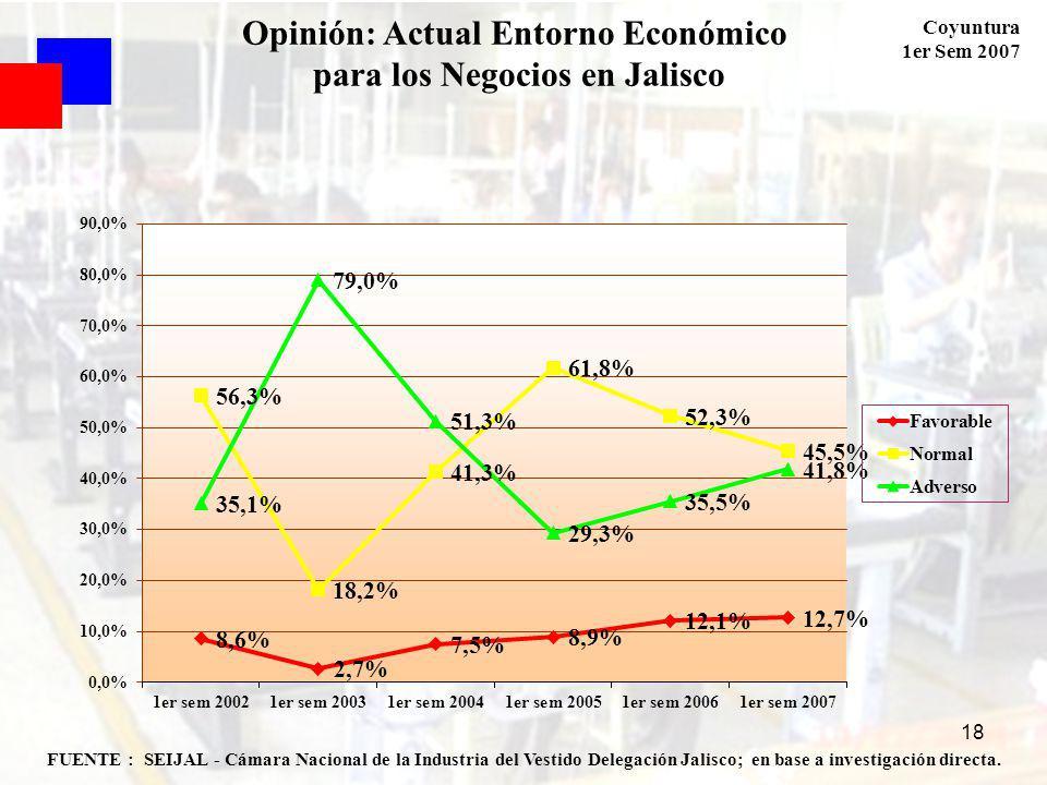 Coyuntura 1er Sem 2007 18 FUENTE : SEIJAL - Cámara Nacional de la Industria del Vestido Delegación Jalisco; en base a investigación directa. Opinión: