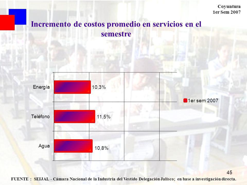 Coyuntura 1er Sem 2007 45 FUENTE : SEIJAL - Cámara Nacional de la Industria del Vestido Delegación Jalisco; en base a investigación directa. Increment