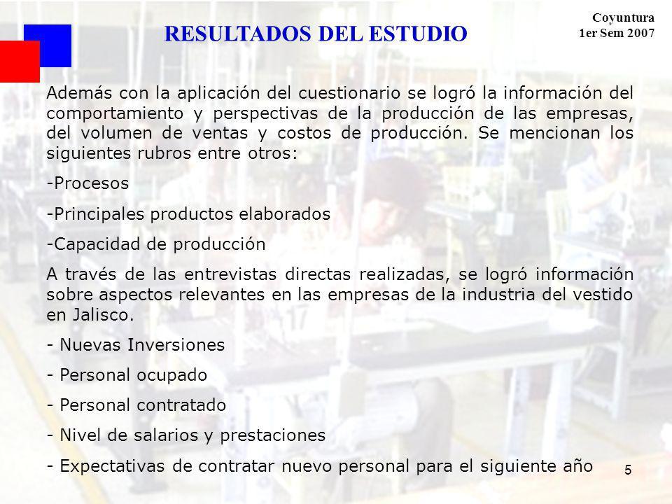 Coyuntura 1er Sem 2007 5 Además con la aplicación del cuestionario se logró la información del comportamiento y perspectivas de la producción de las empresas, del volumen de ventas y costos de producción.