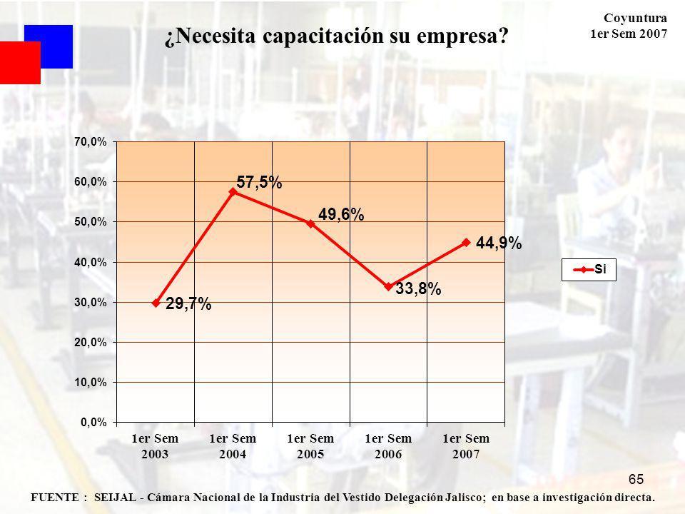 Coyuntura 1er Sem 2007 65 FUENTE : SEIJAL - Cámara Nacional de la Industria del Vestido Delegación Jalisco; en base a investigación directa.