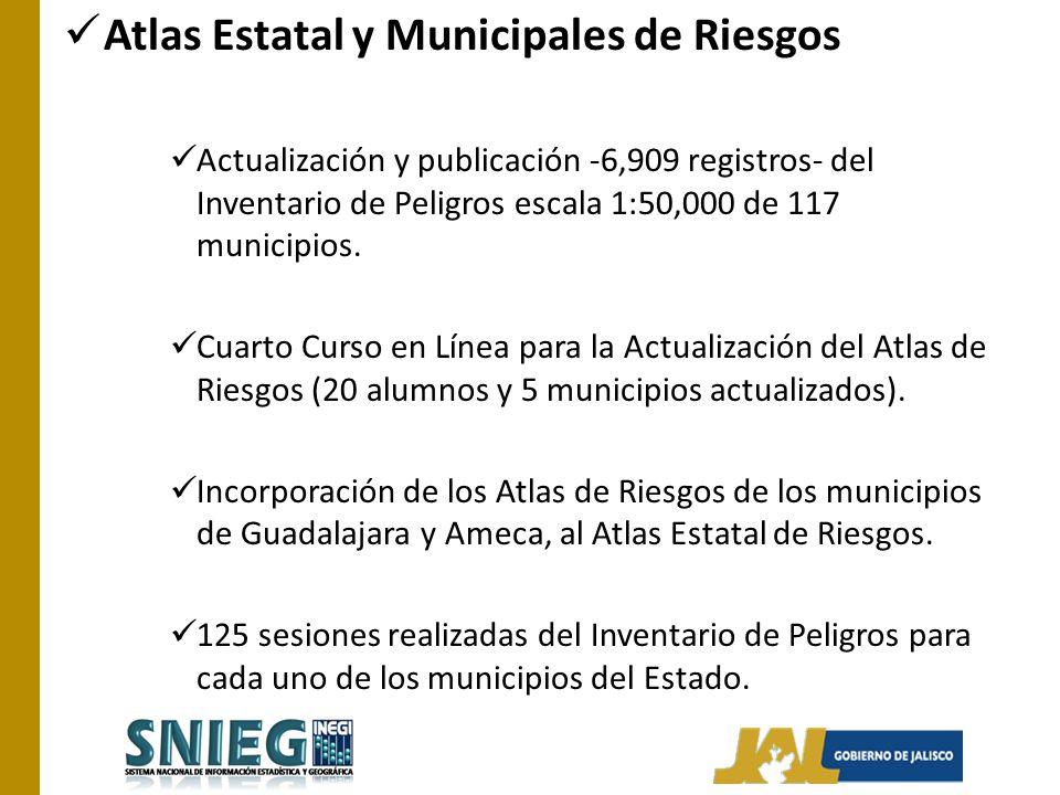 Atlas Estatal y Municipales de Riesgos Actualización y publicación -6,909 registros- del Inventario de Peligros escala 1:50,000 de 117 municipios. Cua
