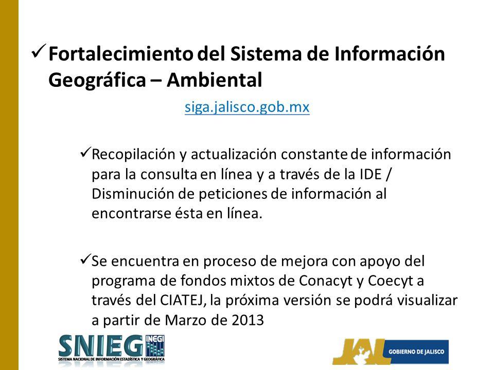Fortalecimiento del Sistema de Información Geográfica – Ambiental siga.jalisco.gob.mx Recopilación y actualización constante de información para la co