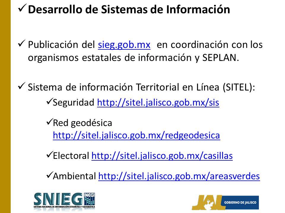 Desarrollo de Sistemas de Información Publicación del sieg.gob.mx en coordinación con los organismos estatales de información y SEPLAN.sieg.gob.mx Sis