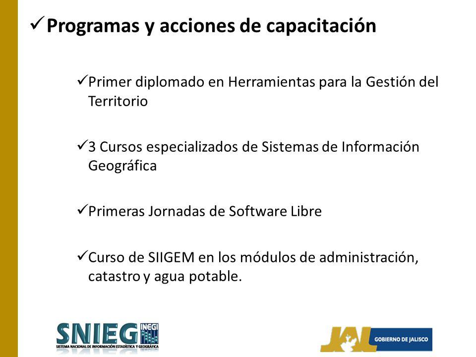 Programas y acciones de capacitación Primer diplomado en Herramientas para la Gestión del Territorio 3 Cursos especializados de Sistemas de Informació