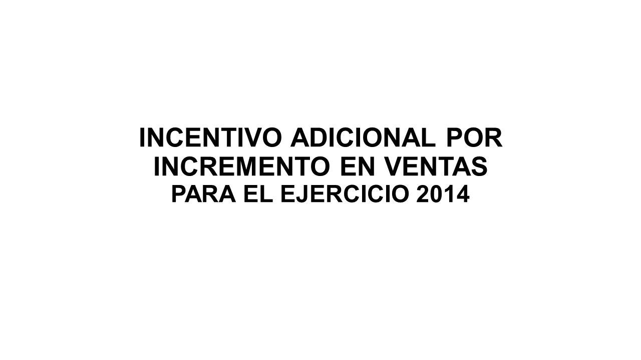 INCENTIVO ADICIONAL POR INCREMENTO EN VENTAS PARA EL EJERCICIO 2014