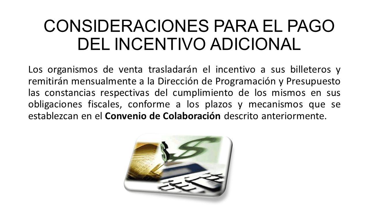 El indicador de productividad, el cumplimiento del convenio de colaboración, el cumplimiento puntual del pago de sorteos y de ser el caso, de convenios de pago, serán condiciones para acceder a este incentivo.