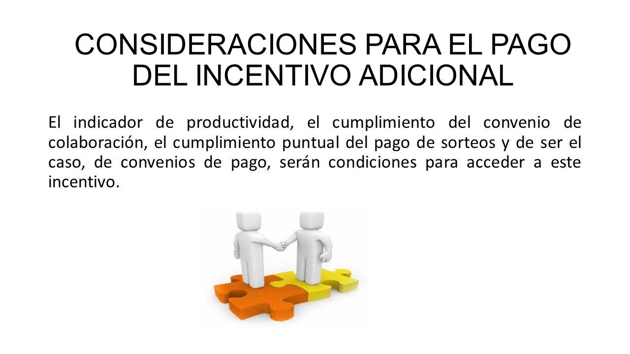 El indicador de productividad, el cumplimiento del convenio de colaboración, el cumplimiento puntual del pago de sorteos y de ser el caso, de convenio