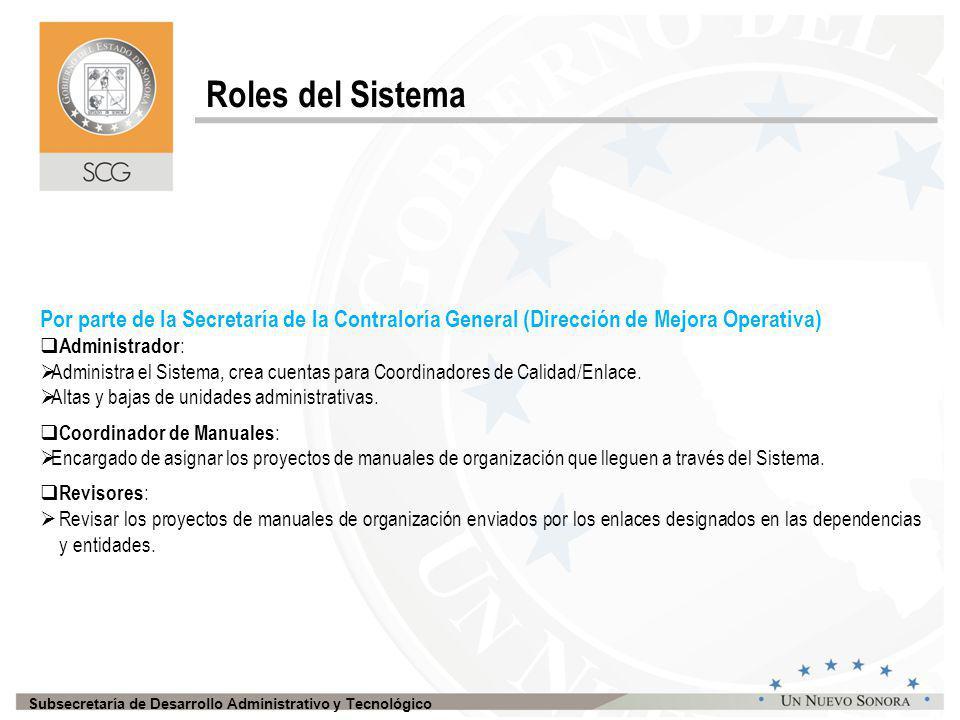 Subsecretaría de Desarrollo Administrativo y Tecnológico Una vez que se asigna el Coordinador Interno, este ingresa al sistema con su usuario y da clic en el botón de Manual de Organización.