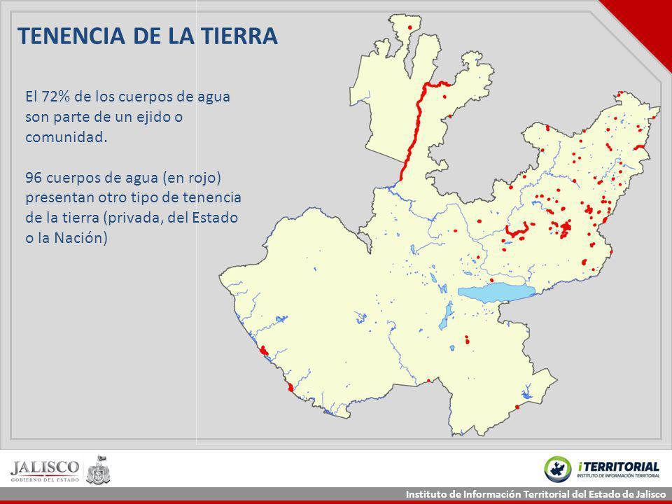 Instituto de Información Territorial del Estado de Jalisco TENENCIA DE LA TIERRA El 72% de los cuerpos de agua son parte de un ejido o comunidad. 96 c