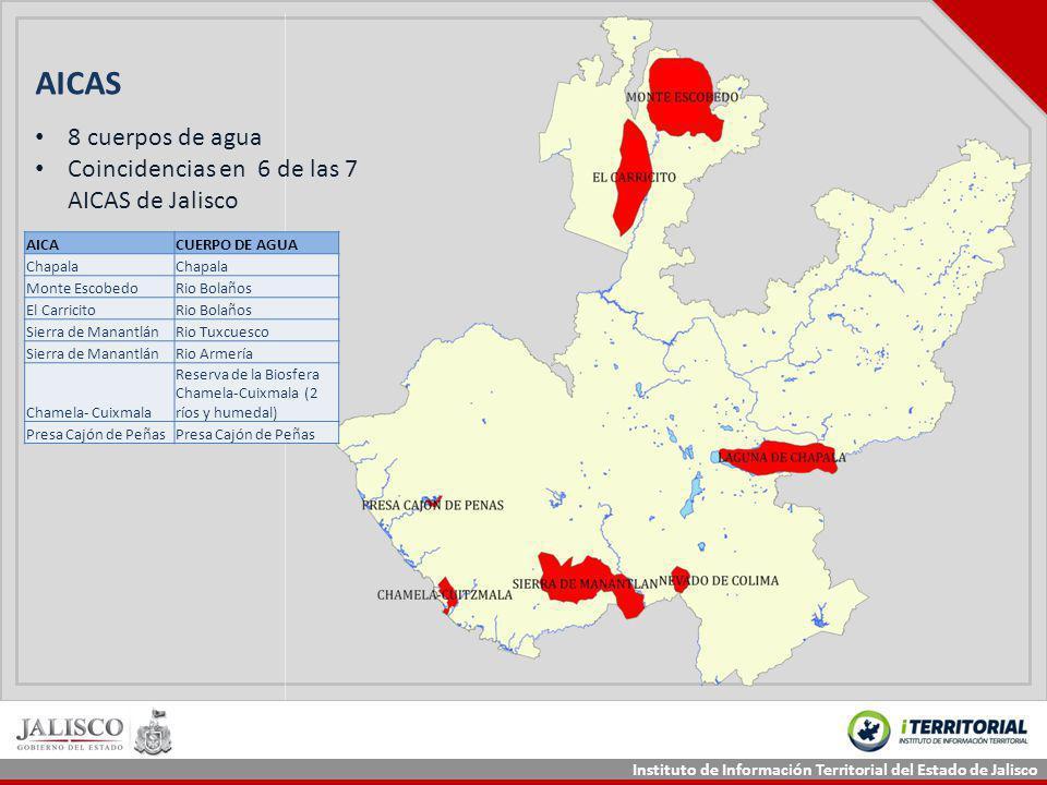 Instituto de Información Territorial del Estado de Jalisco AICAS AICACUERPO DE AGUA Chapala Monte EscobedoRio Bolaños El CarricitoRio Bolaños Sierra d