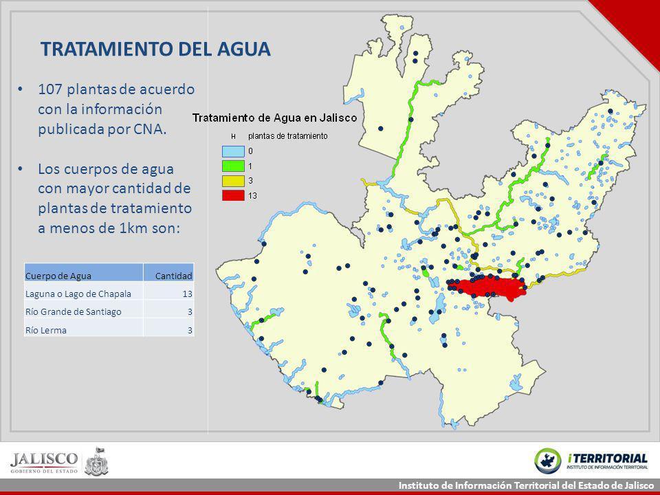 Instituto de Información Territorial del Estado de Jalisco TRATAMIENTO DEL AGUA 107 plantas de acuerdo con la información publicada por CNA. Los cuerp