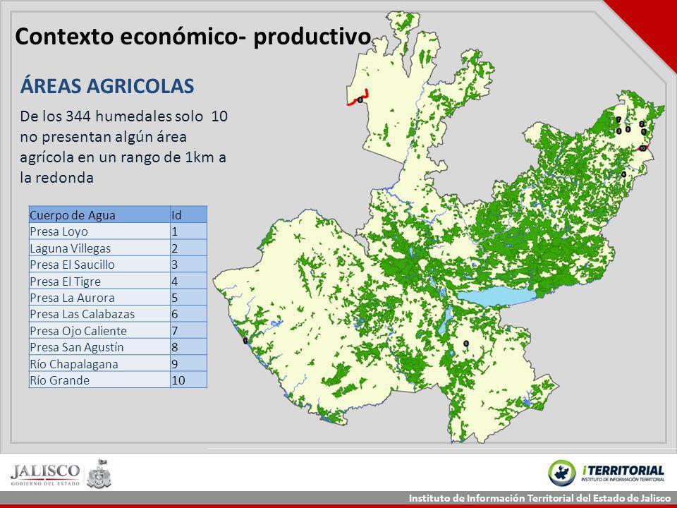 Instituto de Información Territorial del Estado de Jalisco Contexto económico- productivo ÁREAS AGRICOLAS De los 344 humedales solo 10 no presentan al