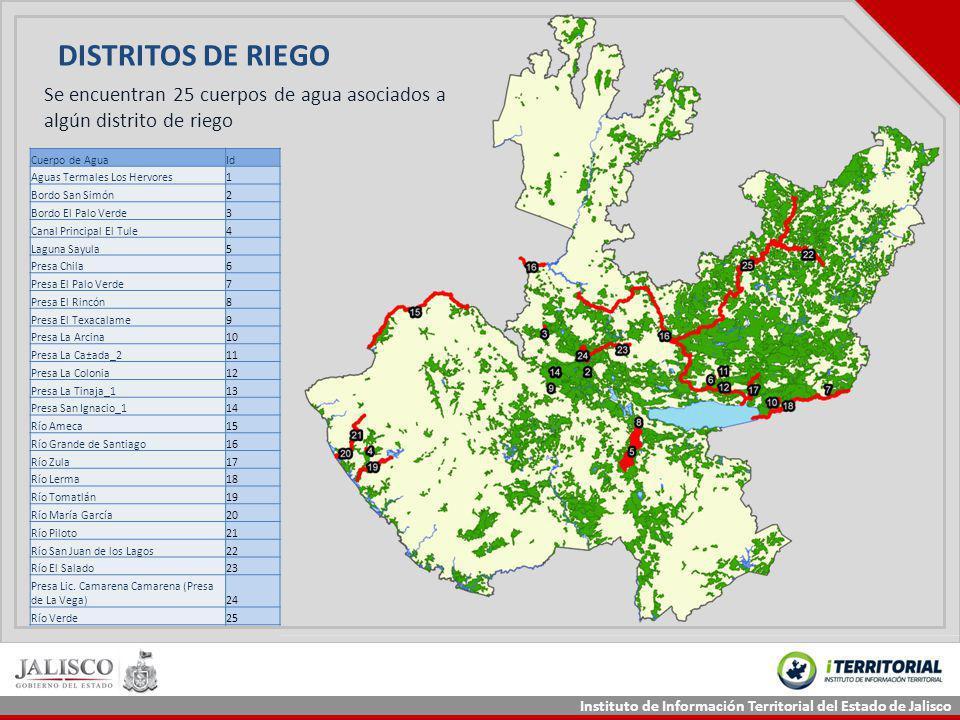 Instituto de Información Territorial del Estado de Jalisco DISTRITOS DE RIEGO Cuerpo de AguaId Aguas Termales Los Hervores1 Bordo San Simón2 Bordo El