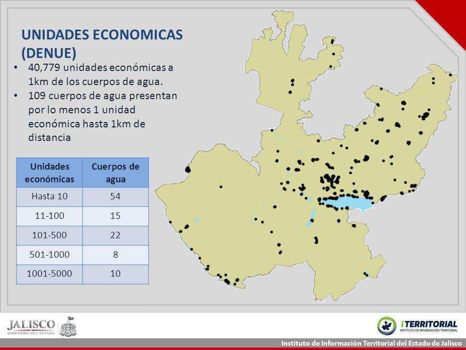 Instituto de Información Territorial del Estado de Jalisco 40,779 unidades económicas a 1km de los cuerpos de agua. 109 cuerpos de agua presentan por