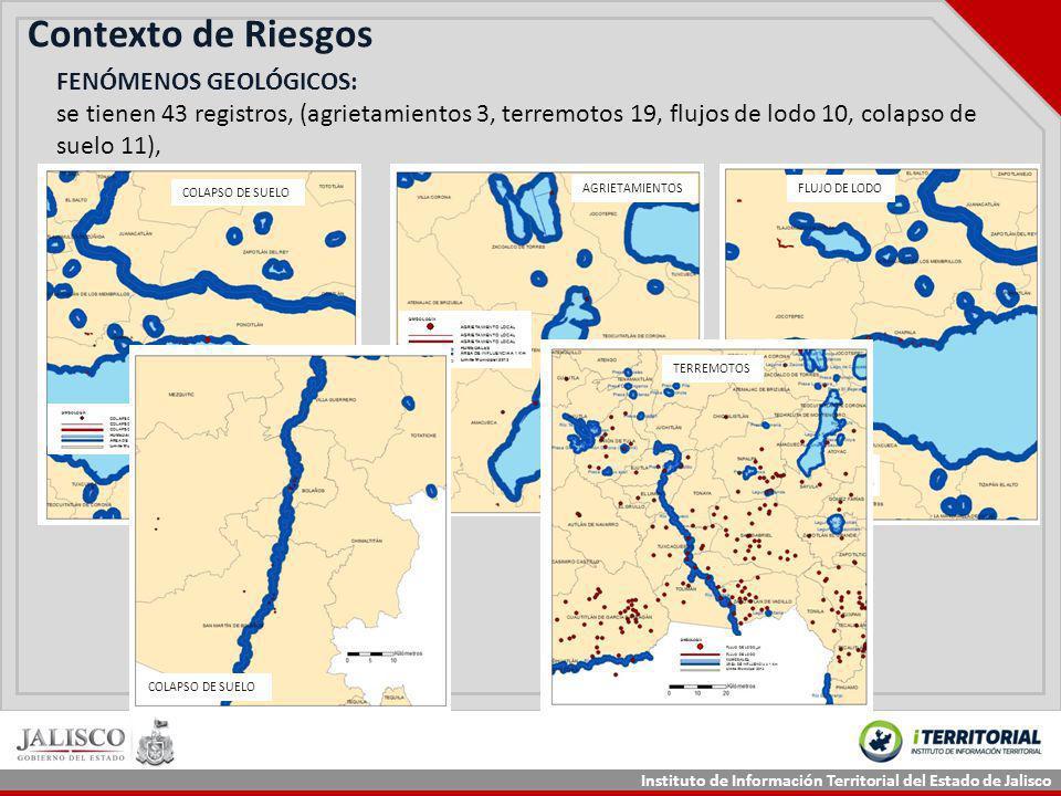 Instituto de Información Territorial del Estado de Jalisco Contexto de Riesgos FLUJO DE LODO FENÓMENOS GEOLÓGICOS: se tienen 43 registros, (agrietamie