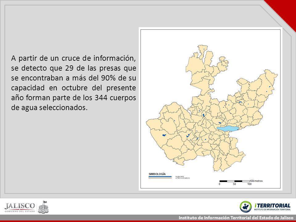 Instituto de Información Territorial del Estado de Jalisco A partir de un cruce de información, se detecto que 29 de las presas que se encontraban a m