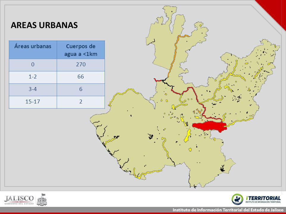 Instituto de Información Territorial del Estado de Jalisco AREAS URBANAS Áreas urbanasCuerpos de agua a <1km 0270 1-266 3-46 15-172