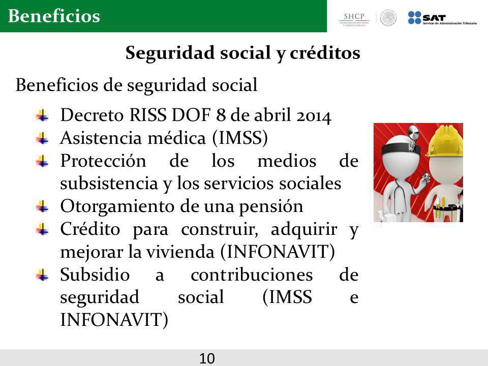 Beneficios Beneficios de seguridad social Seguridad social y créditos 10 Decreto RISS DOF 8 de abril 2014 Asistencia médica (IMSS) Protección de los m