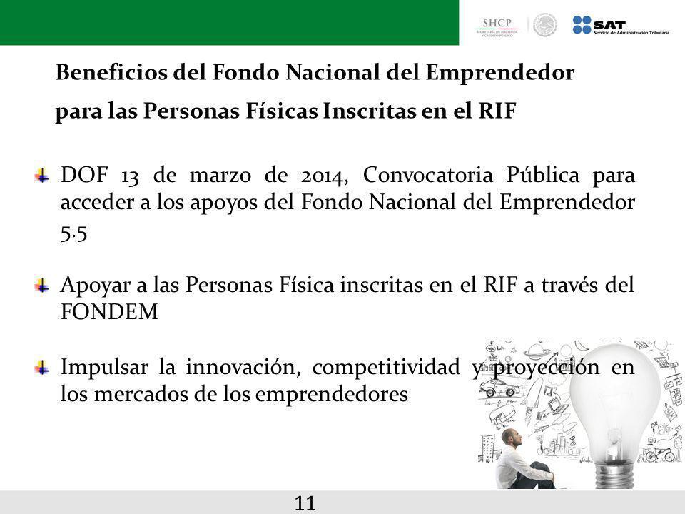 Beneficios del Fondo Nacional del Emprendedor para las Personas Físicas Inscritas en el RIF DOF 13 de marzo de 2014, Convocatoria Pública para acceder